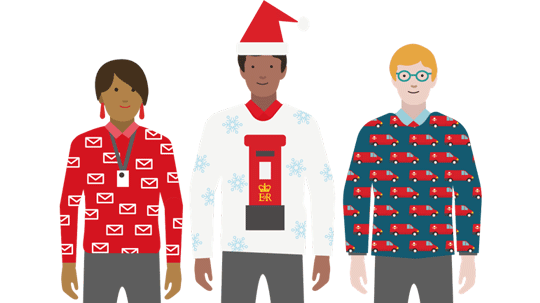 Three people in Royal Mail Christmas jumpers